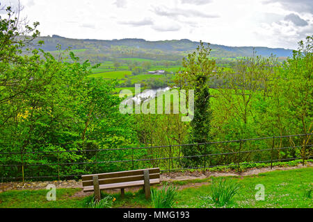 A pretty rural landscape of the Towy Valley viewed from the path leading to Dynevor Castle, near Llandeilo, West Wales - Stock Photo