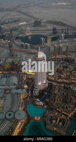 Panorama sunset view to Dubai skyscrapers - 10-01-2015 UAE - Stock Photo