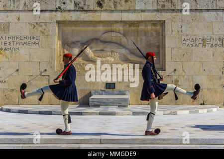 Presidential guard in front of Greek Parliament in Athens, Greece. Changing of the Presidential Guard ceremony - Stock Photo