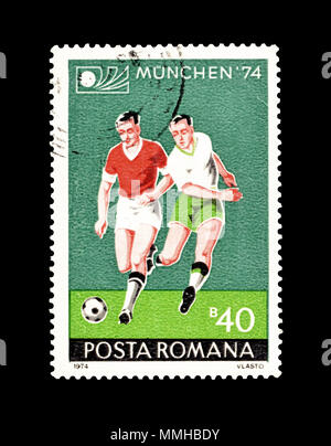 Cancelled postage stamp printed by Romania, that promotes Football World Cup in Munich , circa 1974. - Stock Photo