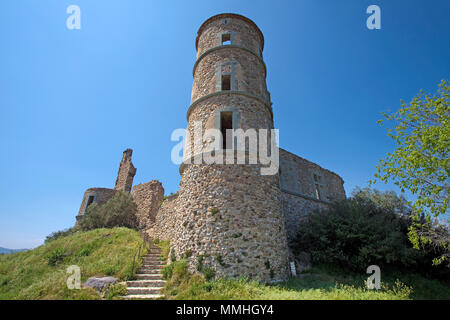 Medieval castle ruin, 11th century, Grimaud-Village, Cote d'Azur, South France, France, Europe - Stock Photo