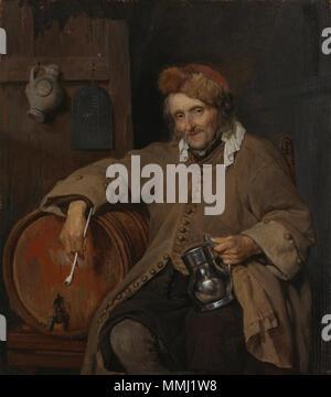 The Old Drinker.. circa 1650-1667. Gabriel Metsu - Le Vieux Buveur - Stock Photo