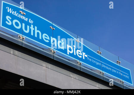 SOUTHEND-ON-SEA, ESSEX - APRIL 18TH 2018:A sign welcoming visitors to Southend Pier in Essex - the longest pleasure pier in the world, on 18th April 2 - Stock Photo