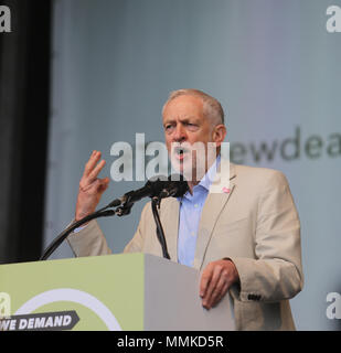 London UK 12 May 2018  Jeremy Corbyn Leader of the Labour Party and Leader of the Opposition since 2015. He has been the Member of Parliament for Islington North since 1983 speaking at the Trades Union Congress (the umbrella organisation of Trade Unions) who called a national demonstration under the slogan of 'A New Deal for Working People. Demanding  a real Living Wage for all workers, collective bargaining and union rights and an end to the 'gig-economy' .@Paul Quezada-Neiman/Alamy Live News - Stock Photo