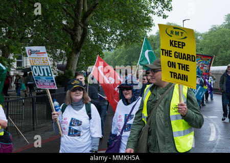 London, UK. 12th May, 2018. TUC March and Rally. Thousands march through London to demand 'A New Deal for Working People' in this demonstration organised by the Trades Union Congress. Marchers formed up at Victoria Embankment and marched to their rally in Hyde Park.  Credit: Stephen Bell/Alamy Live News - Stock Photo