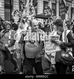 12 May 2018. London, UK. TUC rally to demand 'new deal' for workers, and improved public services. Thousands of protesters marched from Embankment to Hyde Park, calling for higher minimum wage, an end to zero-hours contracts and increased funding for essential public services. - Stock Photo