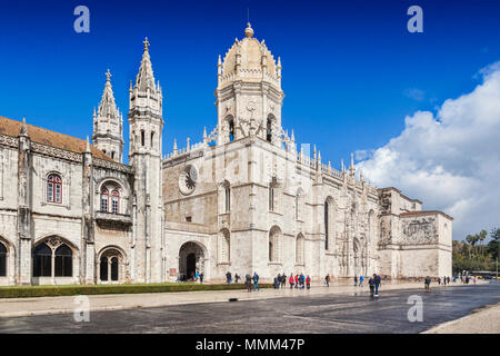 5 March 2018: Lisbon, Portugal - Tourists enjoying early spring sunshine at  Monastery of Jeronimos, Belem. - Stock Photo