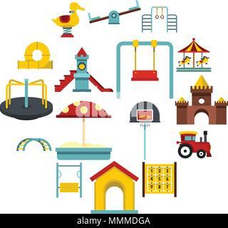 Playground set flat icons - Stock Photo