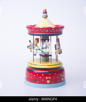 musical box or colorful wooden carousel musical box - Stock Photo