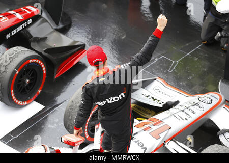 Indianapolis, Indiana, USA. 12th May, 2018. WILL POWER (12) of Australia celebrates in victory lane after winning the IndyCar Grand Prix at Indianapolis Motor Speedway Road Course in Indianapolis, Indiana. Credit: Chris Owens Asp Inc/ASP/ZUMA Wire/Alamy Live News - Stock Photo