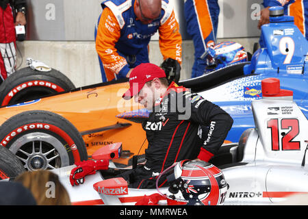 Indianapolis, Indiana, USA. 12th May, 2018. WILL POWER (12) of Australia, celebrates after winning the IndyCar Grand Prix at Indianapolis Motor Speedway Road Course in Indianapolis, Indiana. Credit: Justin R. Noe Asp Inc/ASP/ZUMA Wire/Alamy Live News - Stock Photo