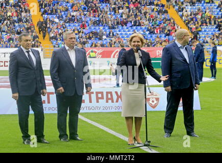 Rostov On Don, Russia. 13th May, 2018. ROSTOV-ON-DON, RUSSIA - MAY 13, 2018: Rostov-on-Don Region Governor Vasily Golubev (2nd L) and Russia's Deputy Prime Minister Olga Golodets (front) attend a ceremony to open Rostov Arena Stadium ahead of a 2017/2018 Russian Football Premier League Round 30 match between FC Rostov and FC Ural, the third trial for the venue to host ahead of the 2018 FIFA World Cup. Valery Matytsin/TASS Credit: ITAR-TASS News Agency/Alamy Live News - Stock Photo