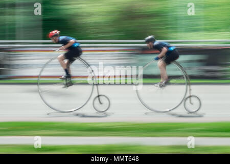 London, UK. 13th May, 2018. Members of the Penny Farthing cycling club perform track racing at Herne Hill velodrome. Credit: Guy Corbishley/Alamy Live News - Stock Photo