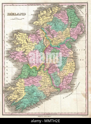 .  English: This is Finley's desirable 1827 map of Ireland. Shows river ways, roads, canals, and some topographical features. Color coding defines all four provinces as well as the numerous traditional county divisions. Mile scales and title in upper left quadrant. Engraved by Young and Delleker for the 1827 edition of Anthony Finley's General Atlas .  Ireland.. 1827 (undated). 1827 Finley Map of Ireland - Geographicus - Ireland-finley-1827 - Stock Photo