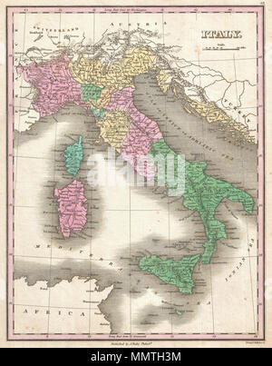 .  English: This is Finley's desirable 1827 map of Italy. Depicts the Italian peninsula from Austria and Switzerland to Sicily and Malta. Includes the Islands of Sardinia and Corsica as well as Dalmatia across the Adriatic. Shows river ways, roads, canals, and some topographical features. The predates the Italian solidarity movement and consequently, the peninsula is divided into an assortment of kingdoms, duchies, republics and states. Color coding defines traditional regional divisions. Mile scales and title in upper right quadrant. Engraved by Young and Delleker for the 1827 edition of Anth - Stock Photo