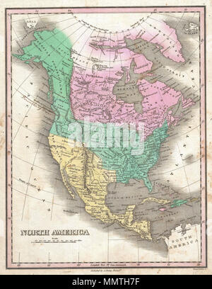 .  English: This is Finley's desirable 1827 map of the North America. Covers the continent from Panama to the Arctic Circle, including Greenland, Iceland, and the northwestern tip of Asia. Color coding according to country. Shows U.S. claims to British Columbia prior to the 1818 compromise that set the boundary at the 49th parallel. Border compromise added by original owner in manuscript annotation. Also shows Mexico's claims to Upper California, here labeled New Albion and Unexplored Territory. Finley curiously charts two lakes in the Great Basin, one labeled Timpanagos and another smaller la - Stock Photo
