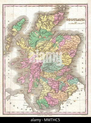 .  English: This is Finley's desirable 1827 map of Scotland. Shows river ways, roads, canals, and some topographical features. Color coding defines traditional county divisions. Mile scales and title in upper right quadrant. Engraved by Young and Delleker for the 1827 edition of Anthony Finley's General Atlas .  Scotland.. 1827 (undated). 1827 Finley Map of Scotland - Geographicus - Scotland-finley-1827 - Stock Photo