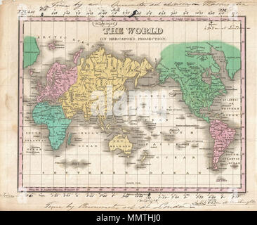 .  English: This is Finley's desirable 1827 map of the World. Covers the entire world on a Mercator Projection. Identifies deserts, rivers, many countries, and numerous cities. Color coded according to continent with Australia (New Holland) attached to Asia. Does not show Antarctica, but does identify South Shetland just north of the Arctic Circle. The original owner has added manuscript annotations to the upper and lower margins (extending briefly into the map in upper section). This annotation, in a flowing 19th century script, shows time zones from Washington (upper margin) and from London  - Stock Photo