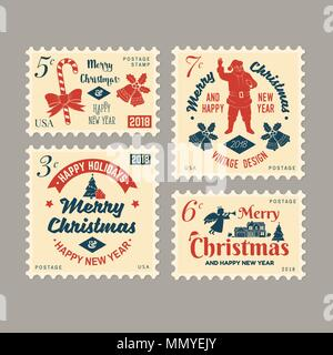 Merry Christmas and Happy New Year 2018 retro postage stamp with Santa Claus, Christmas tree, gifts and reindeer. Vector illustration. - Stock Photo