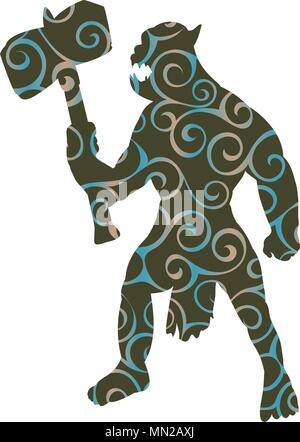 Orc pattern silhouette monster villain fantasy - Stock Photo