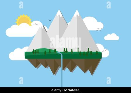 Floating island with mountain, hill, tree and birds. Summer time holiday voyage concept. Illustration in flat style. Travel background. - Stock Photo
