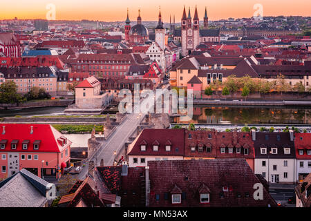 Scenic stunning summer aerial panorama cityscape of the Old Town town in Wurzburg, Bavaria, Germany - part of the Romantic Road. - Stock Photo
