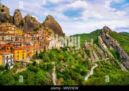 Castelmezzano village in Apennines Dolomiti Lucane. Basilicata, Italy. - Stock Photo