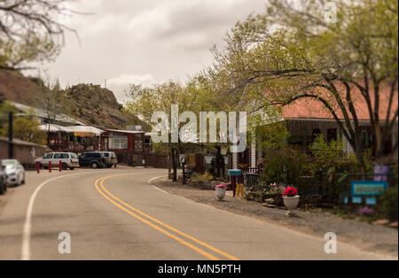 Street scene in Madrid, New Mexico. Historic Turquoise Trail and Route 66, scenic byway between Santa Fe and Albuquerque, NM. - Stock Photo