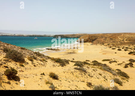 Beautiful panoramic view of Lanzarote beaches and sand dunes in Playas de Papagayo, Costa del Rubicon, Canary Islands - Stock Photo