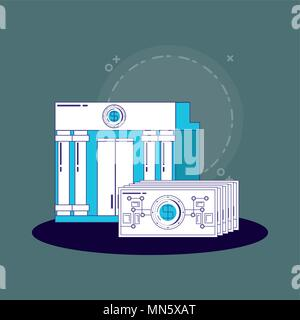 financial technology concept with bank building and money bills over blue background, vector illustration - Stock Photo