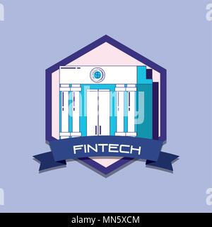 emblem of fintech concept with bank building icon over purple background, colorful design. vector illustration - Stock Photo