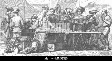 ROME. Brokers & Bookworms in open air 1872 old antique vintage print picture - Stock Photo