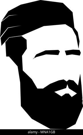 face of bearded man. sign for men's barbershop. hipster. black-white - Stock Photo