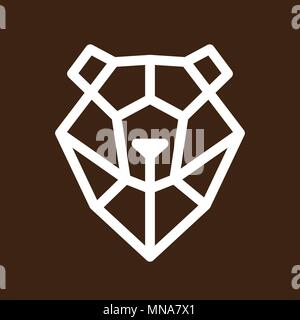 linear head of bear on brown background. lowpoly. Animal symbols. vector icon. - Stock Photo