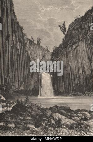 Basaltic Prisms of Santa María Regla. Falls. Mexico 1885 old antique print - Stock Photo