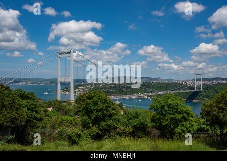 The Fatih Sultan Mehmet Bridge in the spring, Istanbul,Turkey - Stock Photo