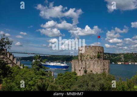 The Rumeli Hisar fortress and part of the Fatih Sultan Mehmet Bridge in Istanbul,Turkey - Stock Photo