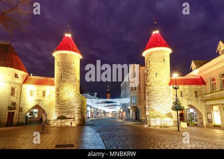 Viru Gate in the Old Town of Tallinn, Estonia - Stock Photo