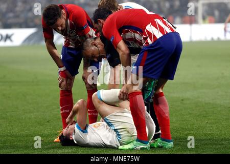 Lyon, Francia. 16th May, 2018. Olympique Marseille's Florian Thauvin falls during the UEFA Europa League final between Olympique Marseille and Atletico Madrid at the Parc Olympique Lyonnais stadium in Lyon, France, 16 May 2018. Credit: MARISCAL/EFE/Alamy Live News - Stock Photo