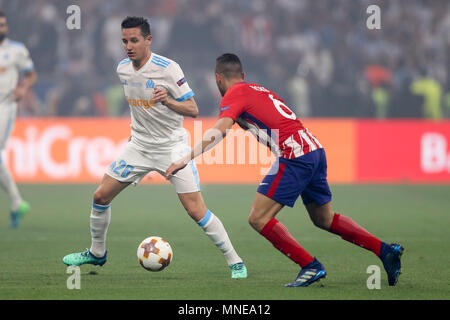 Florian Thauvin of Marseille and Koke of Atletico Madrid during the UEFA Europa League Final match between Marseille and Atletico Madrid at Parc Olympique Lyonnais on May 16th 2018 in Lyon, France. (Photo by Daniel Chesterton/phcimages.com) - Stock Photo