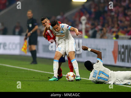 Florian Thauvin of Marseille and Kostas Mitroglou of Marseille during the UEFA Europa League Final match between Marseille and Atletico Madrid at Parc Olympique Lyonnais on May 16th 2018 in Lyon, France. (Photo by Leila Coker/phcimages.com) - Stock Photo