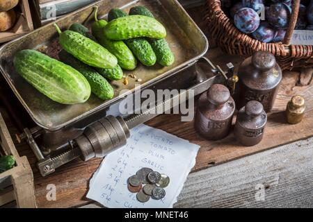 Cucumbers on an old pair of scales - Stock Photo
