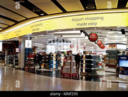Duty free shop in London Heathrow Airport Terminal 2 - Stock Photo