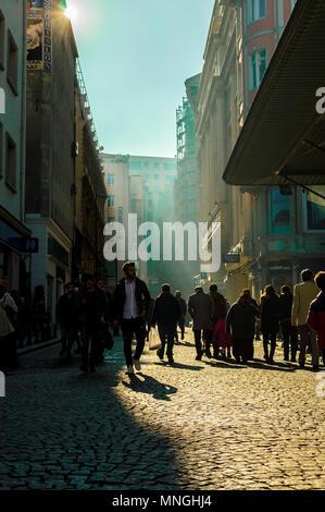 Istanbul, Turkey - January 06, 2018: People walking in touristic Eminonu district of Istanbul city, Turkey - Stock Photo