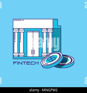 financial technology concept with bank building and coins over blue background, vector illustration - Stock Photo