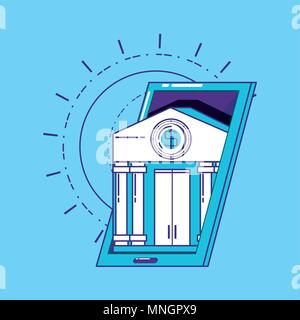 financial technology concept with smartphone with bank building over blue background, vector illustration - Stock Photo