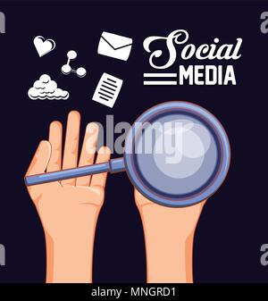 hand holding a magnifying glass and social media related icons over black background, colorful design. vector illustration - Stock Photo