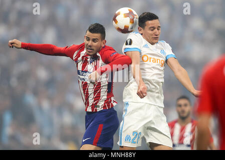 Lucas Hernandez of Atletico Madrid and Florian Thauvin of Marseille during the UEFA Europa League Final match between Marseille and Atletico Madrid at Parc Olympique Lyonnais on May 16th 2018 in Lyon, France. (Photo by Daniel Chesterton/phcimages.com) - Stock Photo
