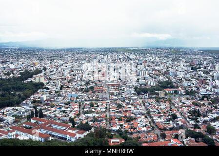 Skyline over Salta town from a cable car (El Teleférico San Bernardo) in Argentina. - Stock Photo