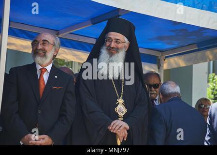 ALEXANDROUPOLI, GREECE-MAY 14, 2018: Bishop Anthimos of Alexandroupolis.Selebration Of Alexandroupoli Independence Day Parade. - Stock Photo